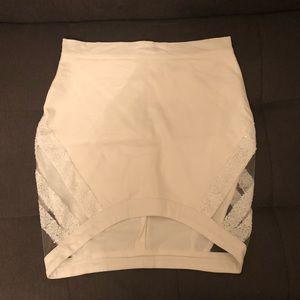 Tobi White Sequin Mesh Skirt